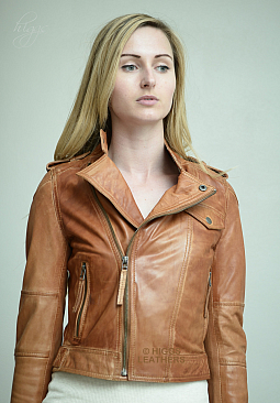 Higgs Leathers Bina (ladies Antique Tan Leather Biker jackets)